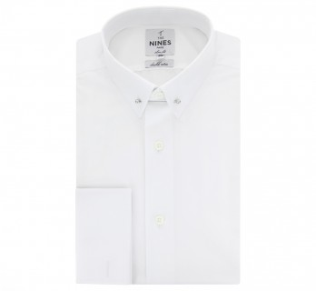 Chemise mousquetaire blanche col pin-collar extra slim