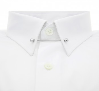 Chemise mousquetaire blanche col pin-collar slim fit