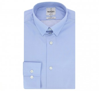 Chemise bleue col anglais coupe extra slim
