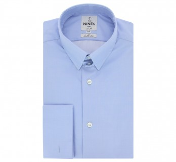 Chemise mousquetaire bleue col anglais coupe extra slim
