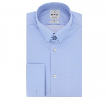 Chemise mousquetaire bleue col anglais tailored fit