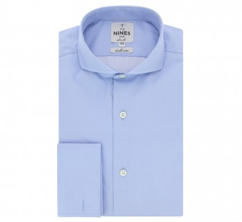 Chemise mousquetaire bleue col cutaway coupe extra slim