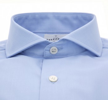 Chemise mousquetaire bleue col cutaway tailored fit