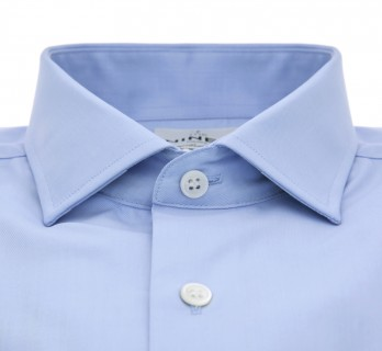Chemise bleue col italien coupe extra slim