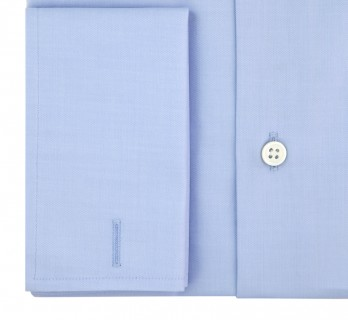 Chemise mousquetaire bleue col italien tailored fit