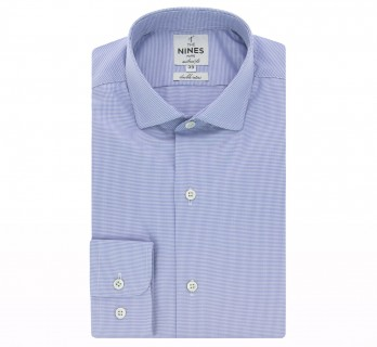 Chemise bleue pied-de-poule col italien arrondi tailored fit