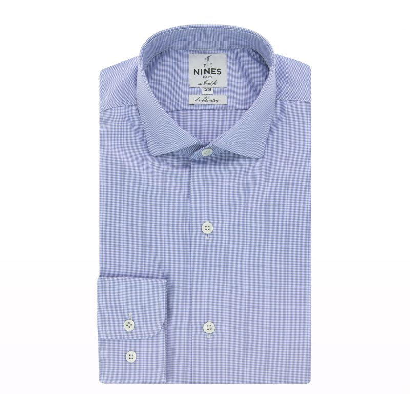 Chemise bleue pied-de-poule col italien arrondi