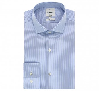 Chemise bleue rayures col italien slim fit