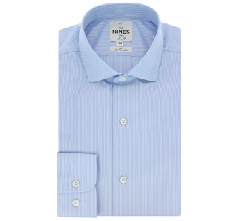 Chemise bleu ciel rayures blanches col italien arrondi coupe extra slim