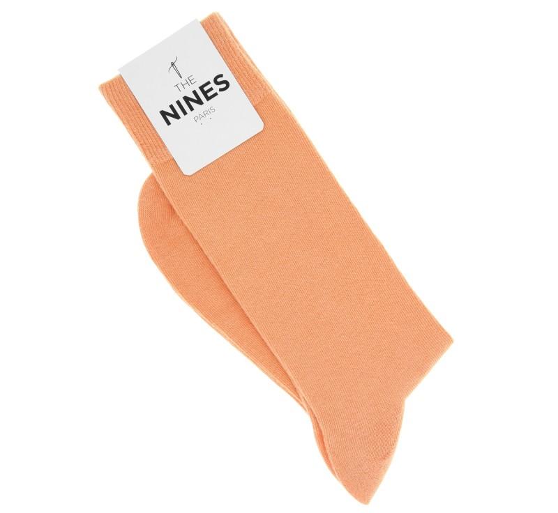 Chaussettes en coton peigné orange pastel