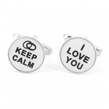 Boutons de manchette Keep Calm I Love You