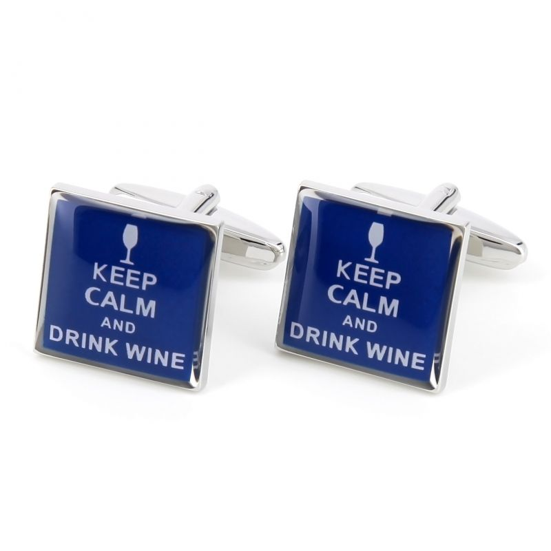 Boutons de manchette Keep Calm and Drink Wine