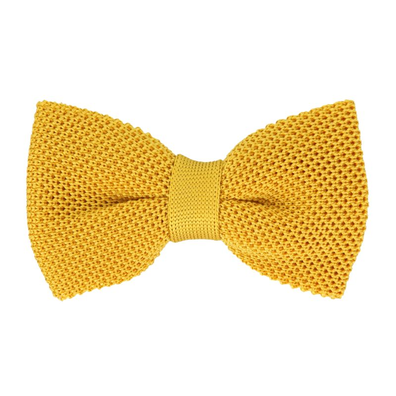 Noeud papillon jaune en tricot de soie - Monza
