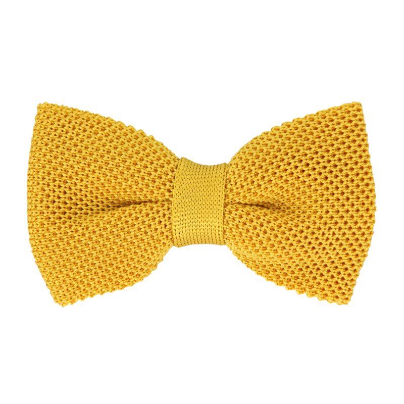 bc1282fc62169 Nœud papillon jaune en tricot Monza - nœud papillon homme