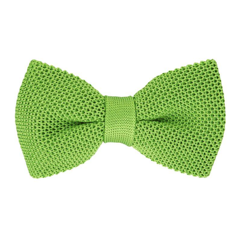 Noeud papillon vert pomme en tricot de soie  - Monza