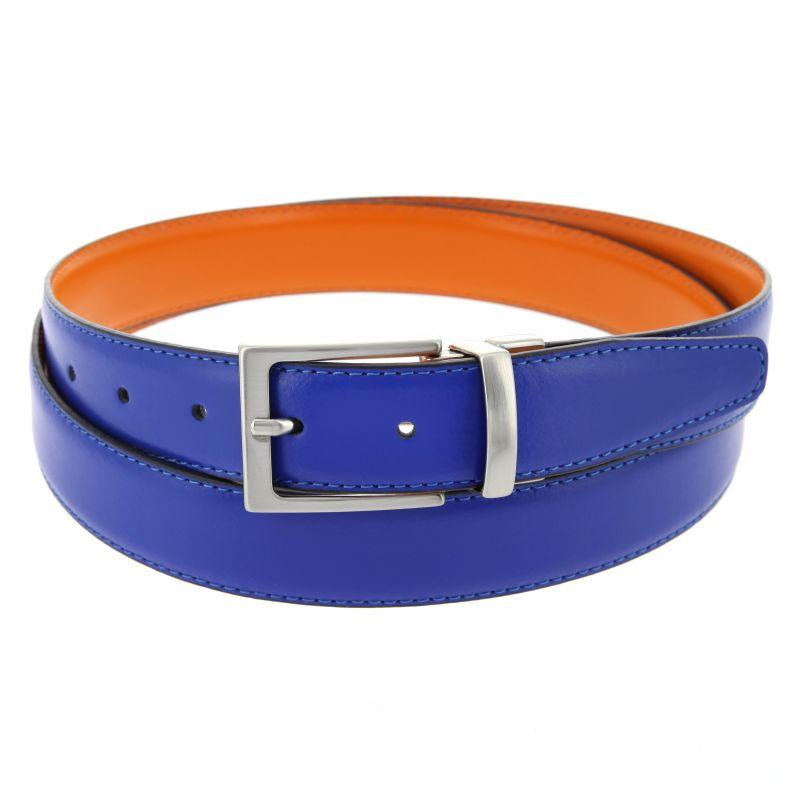 Ceinture réversible bleue et orange - James - Atelier de la Ceinture b1eba9e1e4e