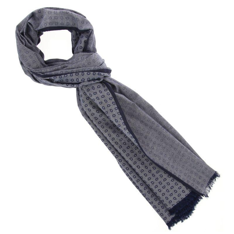 Écharpe grise à motifs et bordures bleu marine The Nines