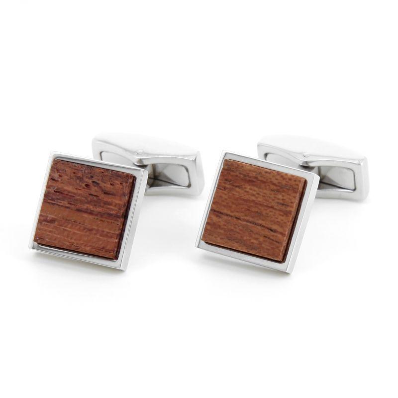 Boutons de manchette carré en bois Bubinga - Ayos