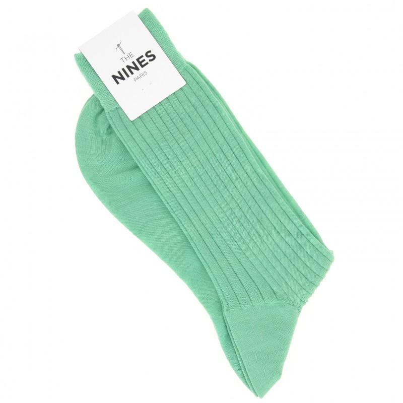 Chaussettes laine vierge vert anglais