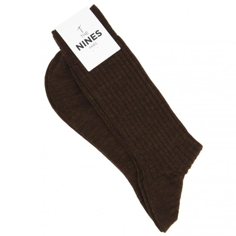 Chaussettes laine vierge marron