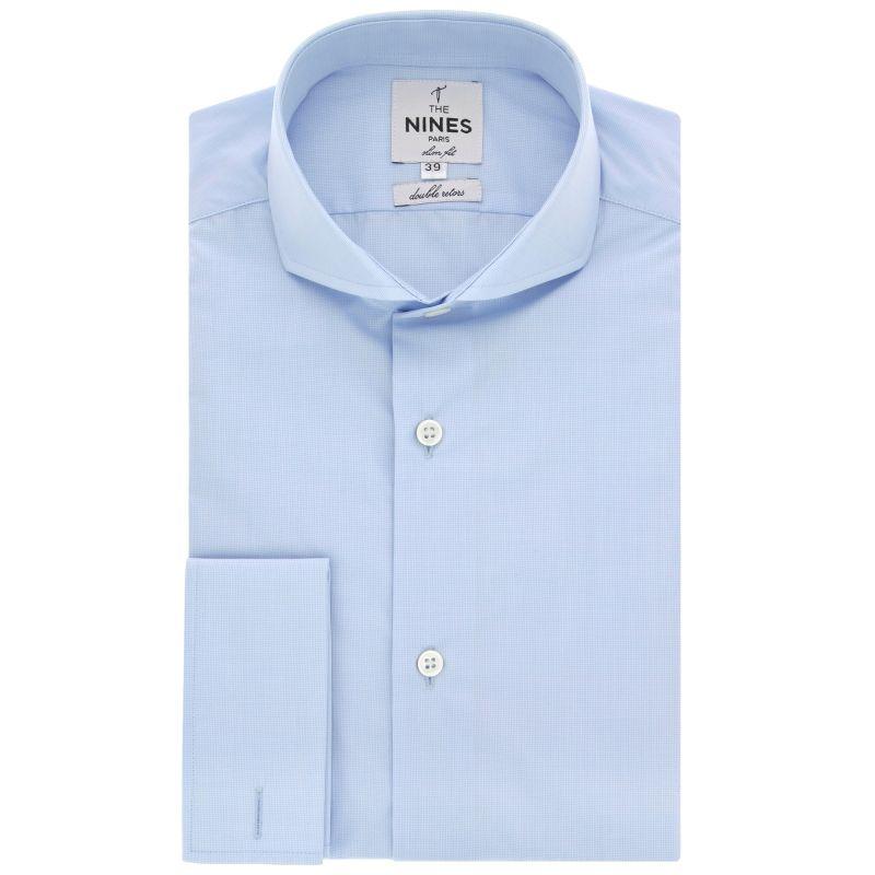 Chemise mousquetaire bleu ciel mini pied de poule col cutaway slim fit
