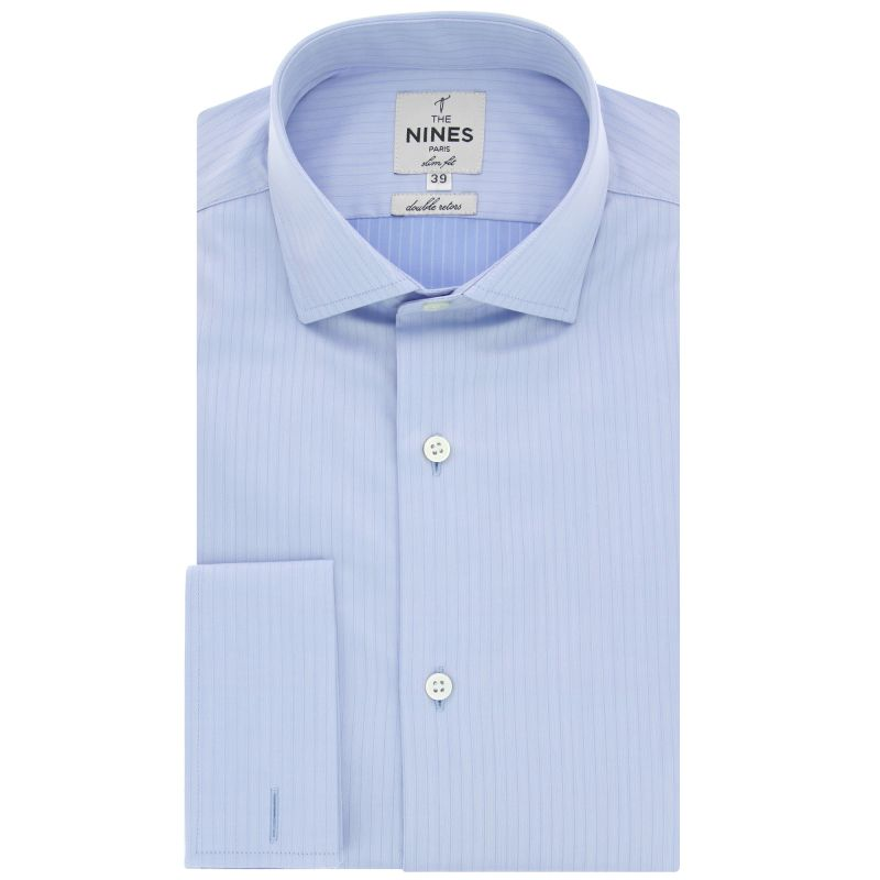 chemise mousquetaire bleu ciel rayures col italien slim fit the nines. Black Bedroom Furniture Sets. Home Design Ideas