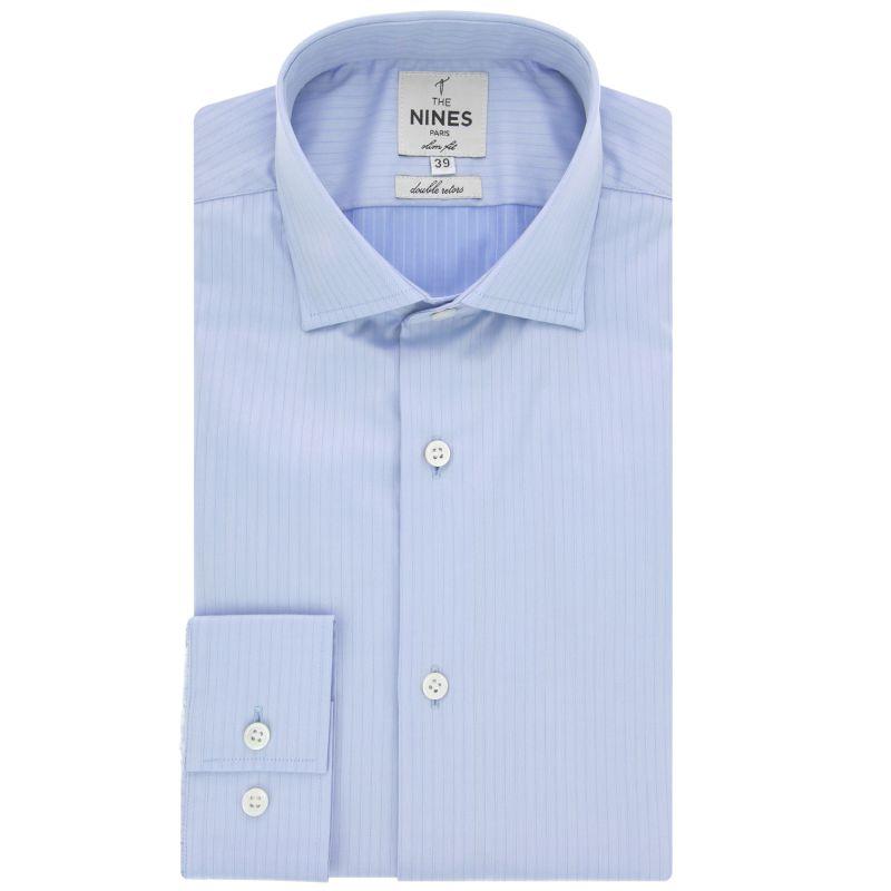 770b13a4b628c Chemise bleu ciel rayures col italien slim fit - The Nines