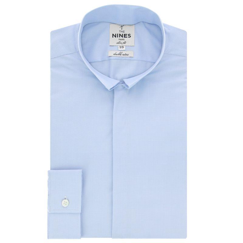 chemise bleu ciel pied de poule col invers slim fit the nines. Black Bedroom Furniture Sets. Home Design Ideas