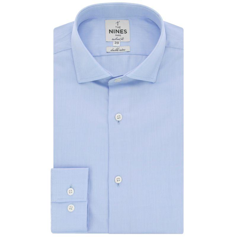 Chemise bleu ciel col italien tailored fit