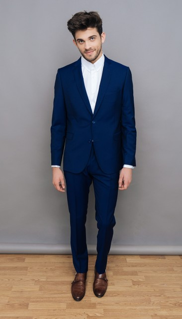 Costume bleu mohair The Nines