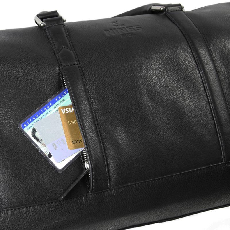 sac de voyage noir en cuir grain jfk the nines. Black Bedroom Furniture Sets. Home Design Ideas