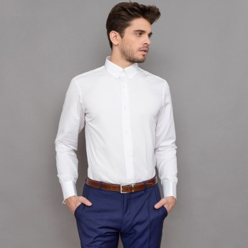 Chemise mousquetaire blanche col anglais arrondi tailored fit