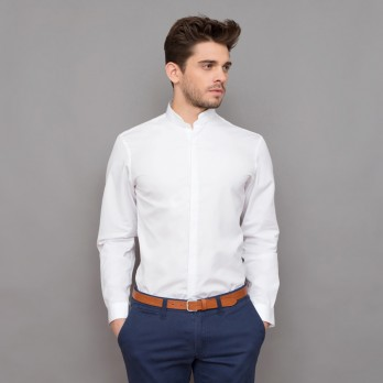 Chemise blanche col officier arrondi tailored fit