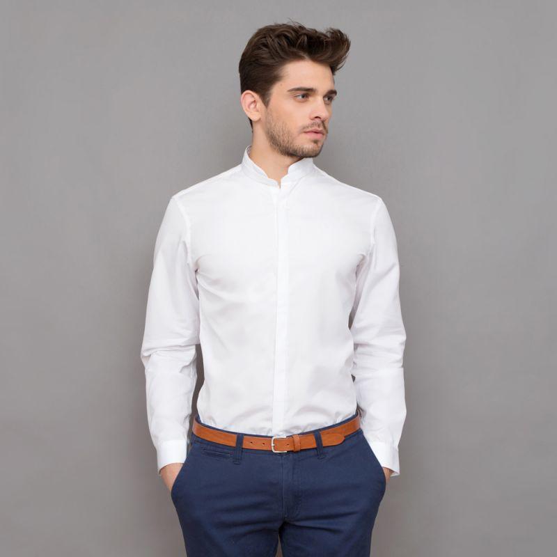 chemise blanche col mao arrondi slim the nines. Black Bedroom Furniture Sets. Home Design Ideas