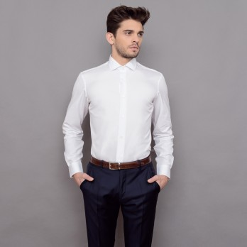 Chemise blanche col italien tailored fit