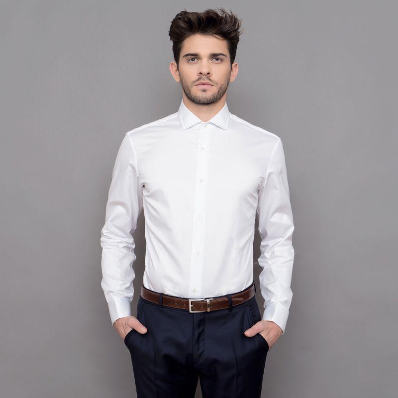 chemise mousquetaire faux uni blanc col italien slim fit. Black Bedroom Furniture Sets. Home Design Ideas
