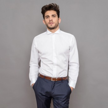 Chemise mousquetaire blanche col cutaway tailored fit