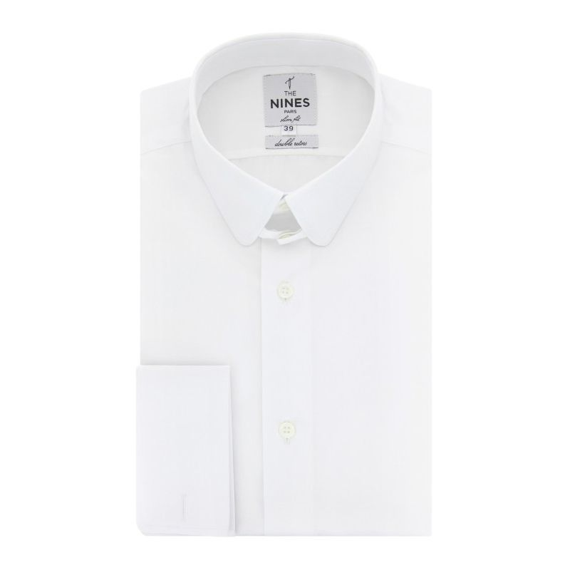 Chemise mousquetaire blanche col anglais arrondi coupe extra slim