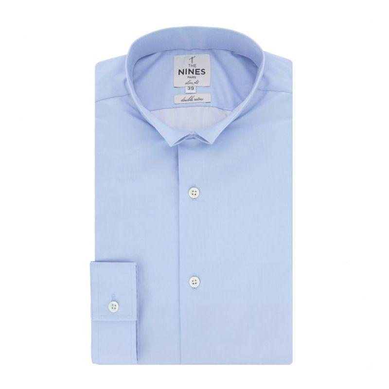 Chemise bleue col inversé slim fit