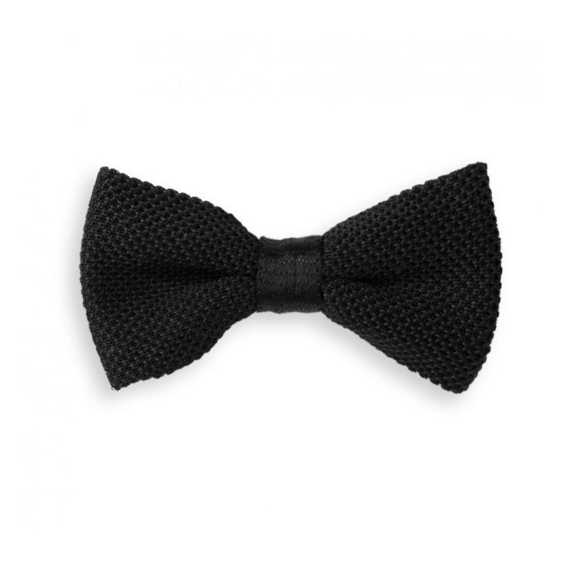 Noeud papillon noir en tricot de soie - Monza
