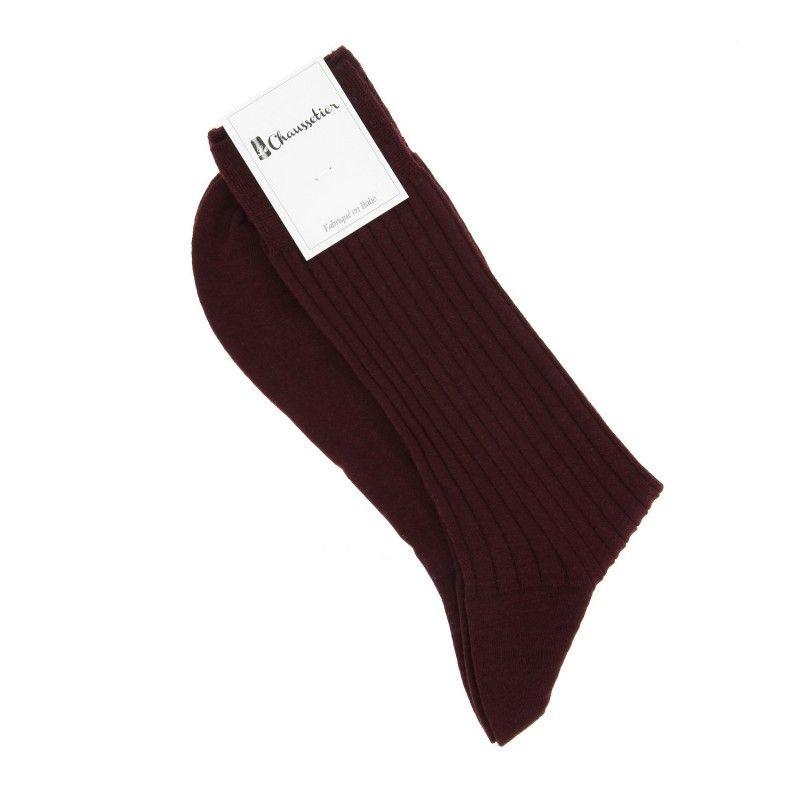Chaussettes laine vierge bordeaux premier cru