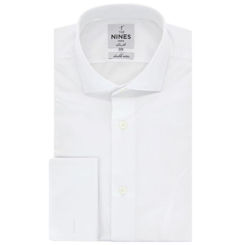 Chemise mousquetaire blanche faux-uni col italien slim fit
