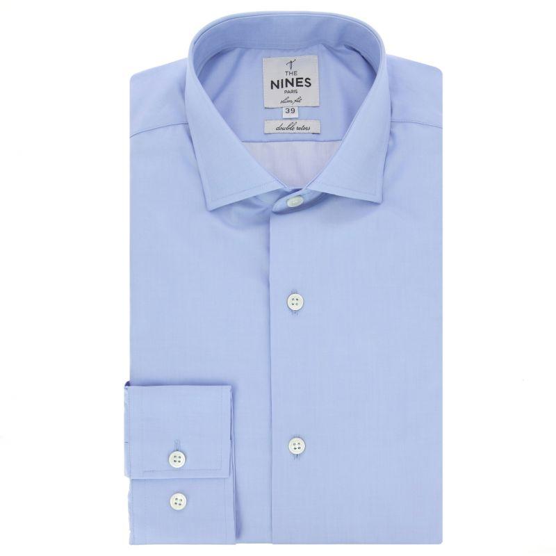 chemise bleue col italien slim fit the nines. Black Bedroom Furniture Sets. Home Design Ideas