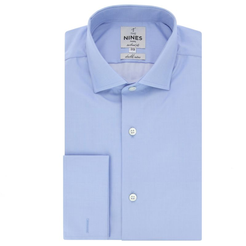 Chemise mousquetaire bleue col italien coupe slim