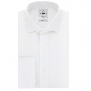 Chemise mousquetaire blanche col italien tailored fit