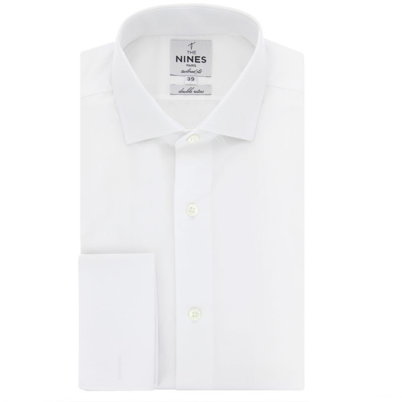 Chemise mousquetaire blanche col italien coupe slim