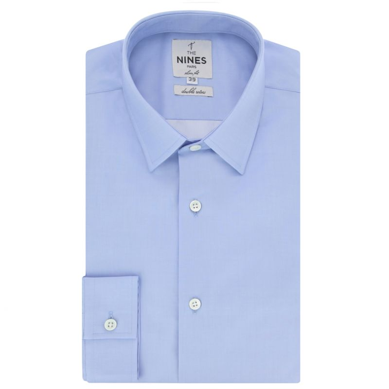 Chemise bleue col japonais coupe extra slim