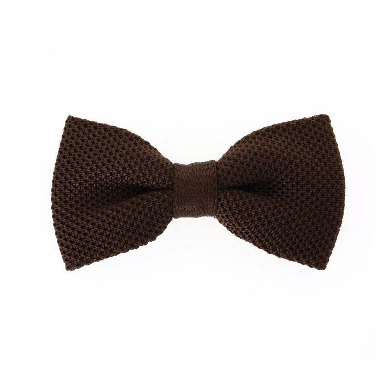 Noeud papillon marron chocolat en tricot de soie - Monza