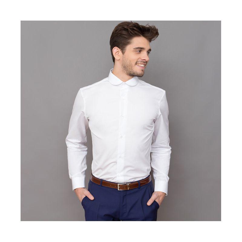 Chemise Homme Col Rond : chemise blanche col rond slim fit the nines ~ Voncanada.com Idées de Décoration