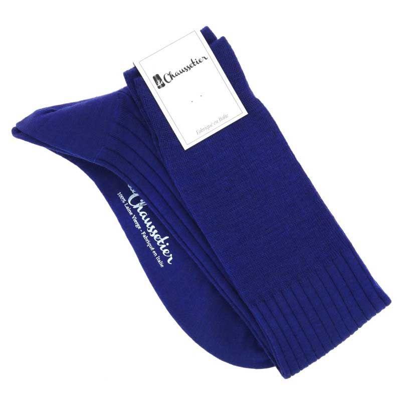 Mi-bas laine vierge bleu électrique
